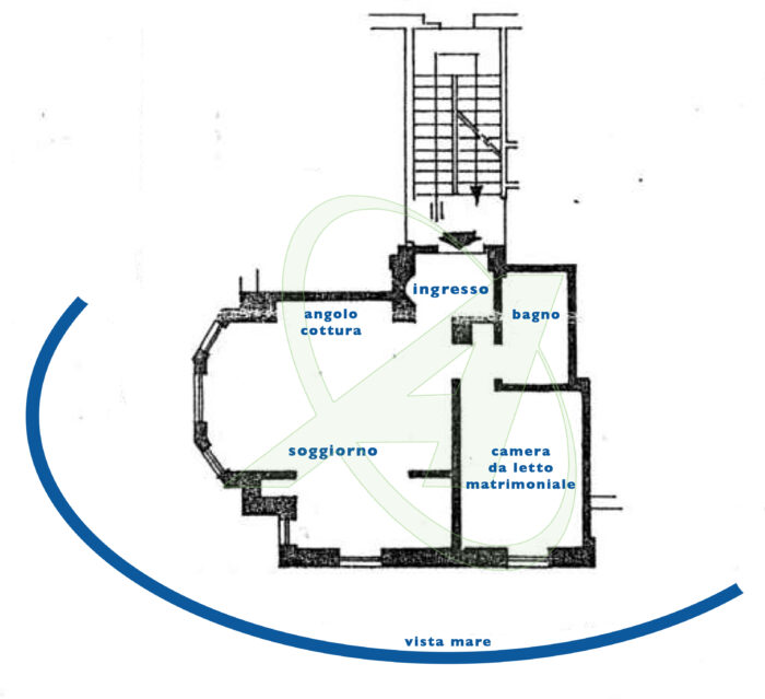 Planimetria appartamento in villa sul mare con spiaggia privata in vendita a Zoagli