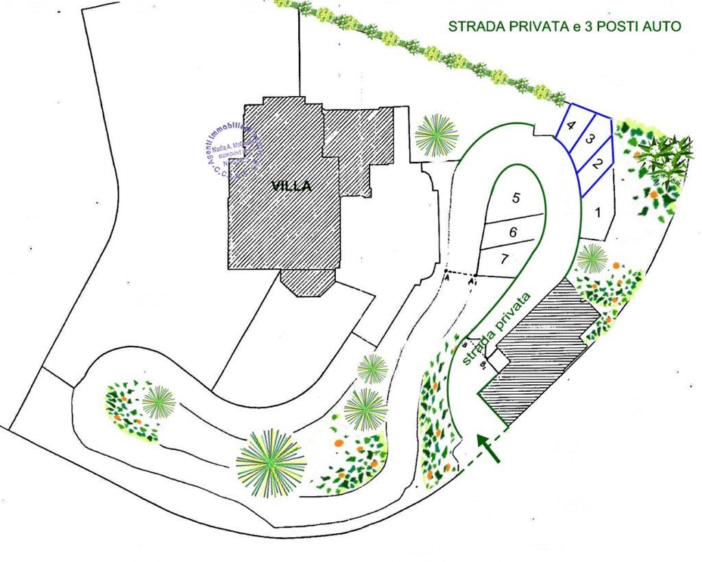 San Michele di Pagana - Appartamento in villa d'epoca vista mare - planimetria posti auto