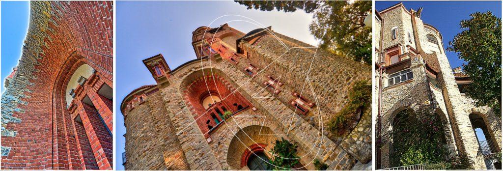 Particolari architettonici del castello Sem Benelli di Zoagli