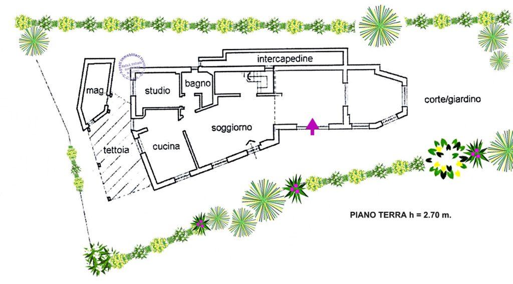 planimetria villa in vendita a ZOAGLI - S. AMBROGIO vista mare con giardino e 7 posti auto 008